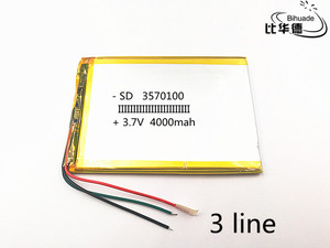 Image 3 - 3 wire 1pcs/lot 3570100 3.7V 4000mAH polymer lithium ion battery Li ion battery for tablet pc  7 inch 8 inch 9inch