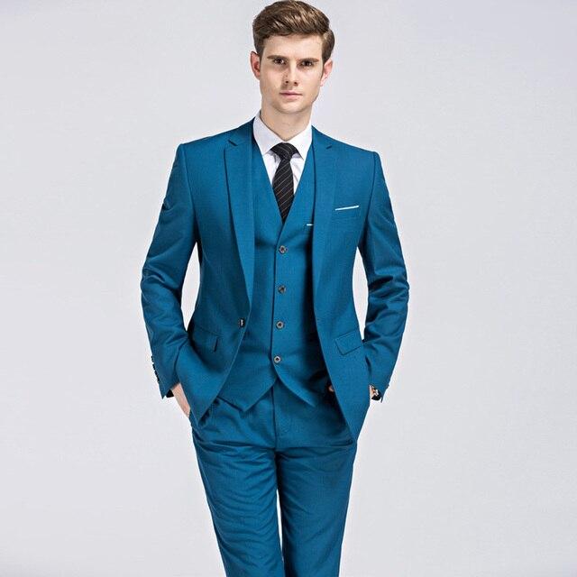 1ba48fa40 2018 chaqueta chaleco pantalones trajes hombres clásicos negocios hombres 3  unidades traje Slim Fit boda novio
