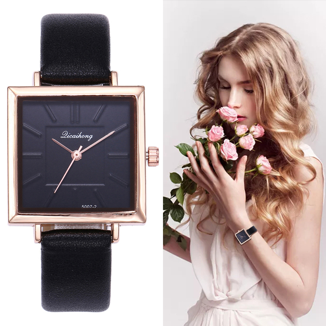 Brand Women Watches Fashion Square Dial Embossed Dress Leather Band Quartz Wrist
