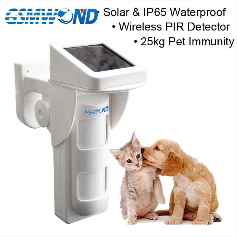 433MHz Solar Power Charge Infrared Detector Pet Immunity Infrared Detector Outdoor Waterproof For Home Burglar Alarm