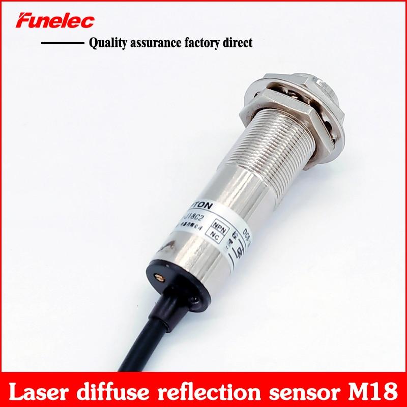 M18 Laser Diffuse Reflection Photoelectric Switch Sensor Infrared Sensor Switch Visible Light Laser Radiation Sensor