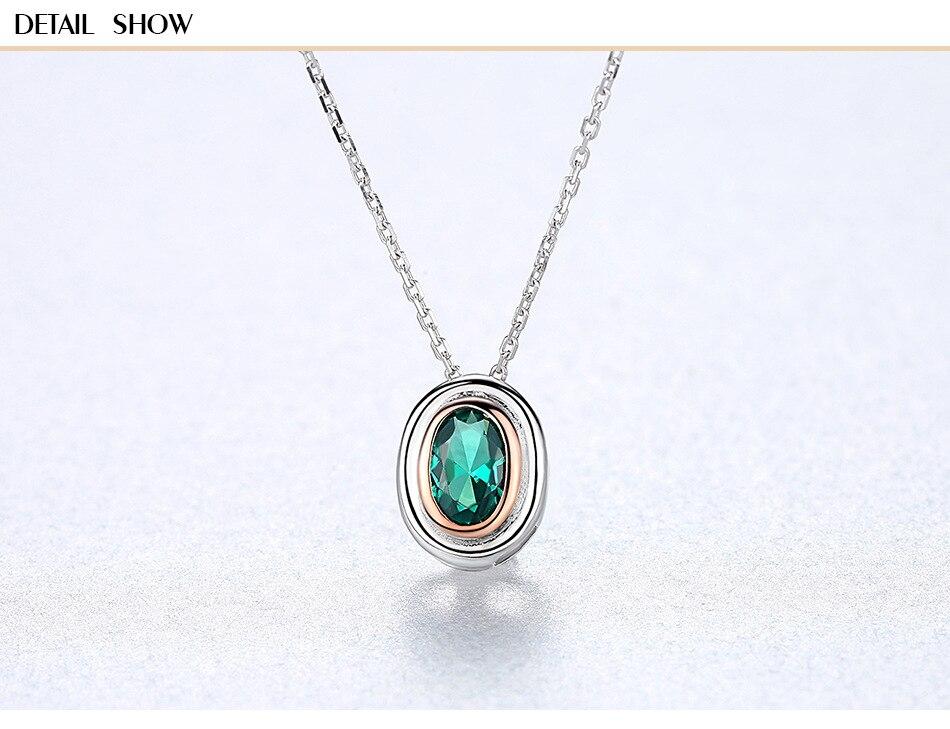 S925 collier en argent sterling simple design carré avec collier femme en pierres précieuses vertes CS15