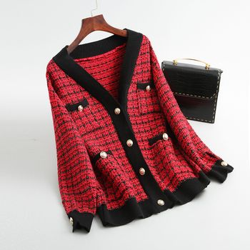 Spring Autumn vintage Plaid Soft Wool Knit Jackets Coat Women V-Neck Oversize Korean Sweater Cardigan Loose Outwear Tops Female 3