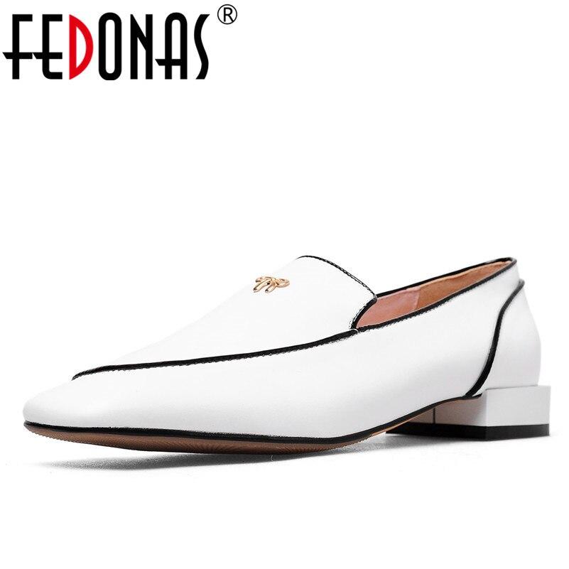 Fedonas 브랜드 정품 가죽 신발 여자 하이힐 우아한 펌프 패션 블랙 화이트 클래식 디자인 오피스 펌프 새로운 신발-에서여성용 펌프부터 신발 의  그룹 1
