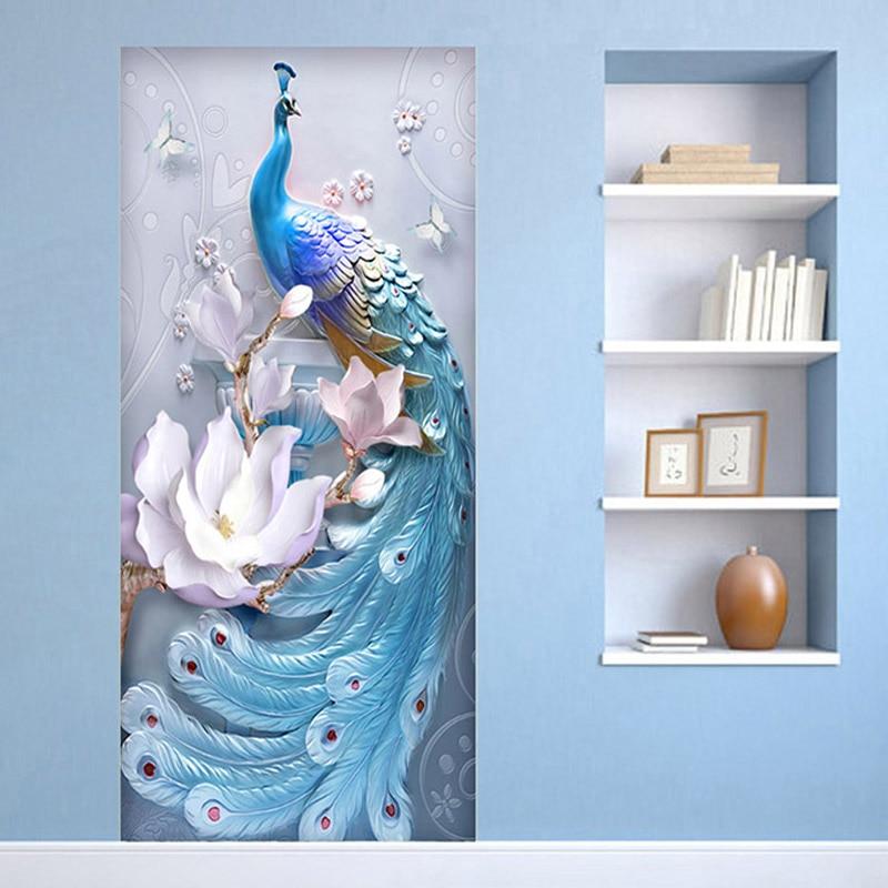 2 Pieces/Set Creative DIY 3D Wall Door Stickers Modern Creative Blue Peacock Wallpaper Living Room Study Home Design Door Decals