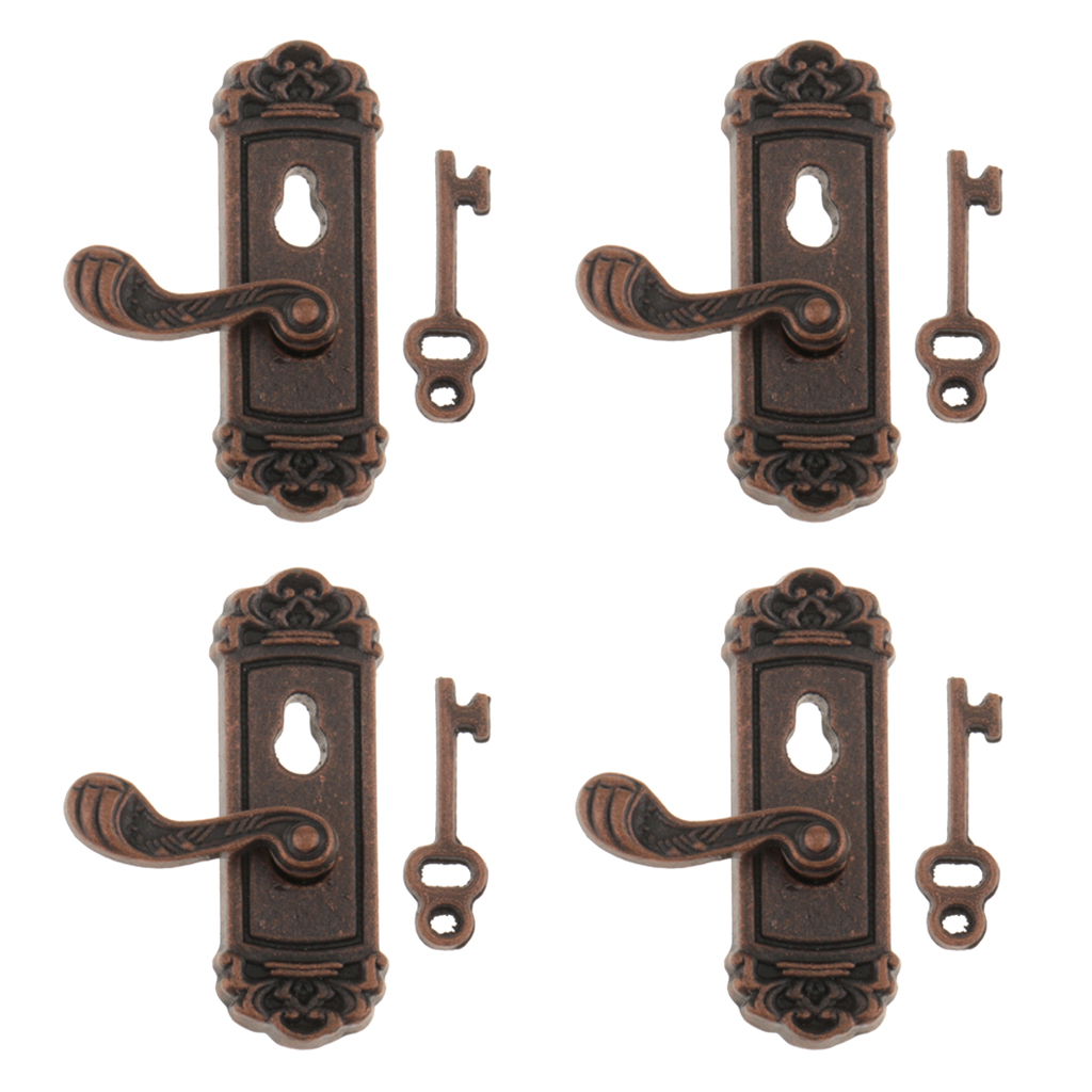 8Pcs 1//12 Dollhouse Miniature Knocker Mailbox Letter Slot Lock W.Keys DIY