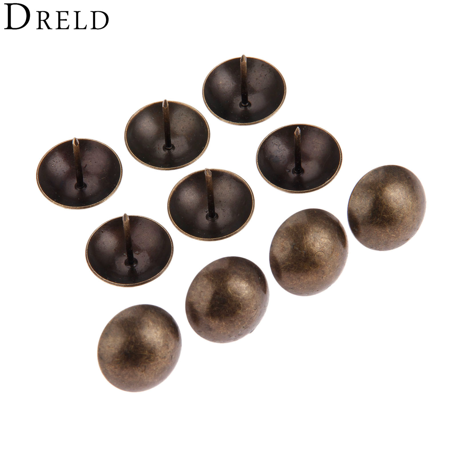 DRELD 10Pcs 25*25mm Iron Upholstery Nail Tachas Jewelry Gift Box Door Sofa Furniture Decorative Tack Stud Pushpin Antique Bronze