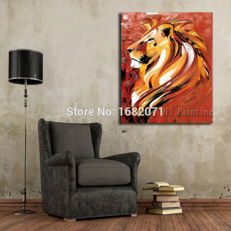 Interior Decoration Items Hand Painted Abstract Animal Portrait Oil