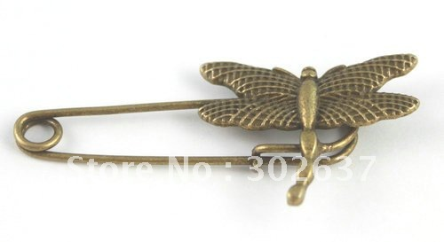 10PCS Antiqued bronze dragonfly Safety Pin Brooch A15547B