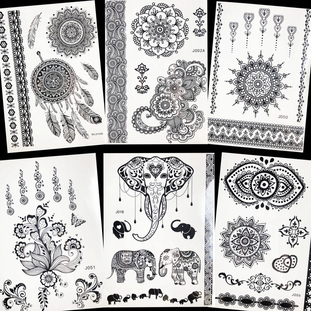 Aliexpress Com Buy Black Henna Mandala Flower Tattoo Stickers