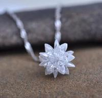 Free Shipping 2014 New Arrival Fashion White Ice Flower 925 Sterling Silver Pendant Necklaces Female Jewelry
