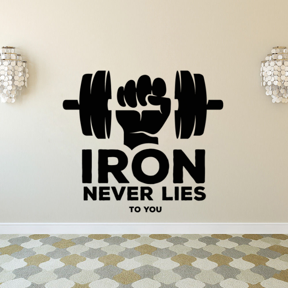 Fitness Bodybuilding Wall Sticker Gym Quote Iron Never Lies Vinyl Wall Decal Gym Sports Decoration Fintess Club Vinyl Art Ay1580 Wall Stickers Aliexpress