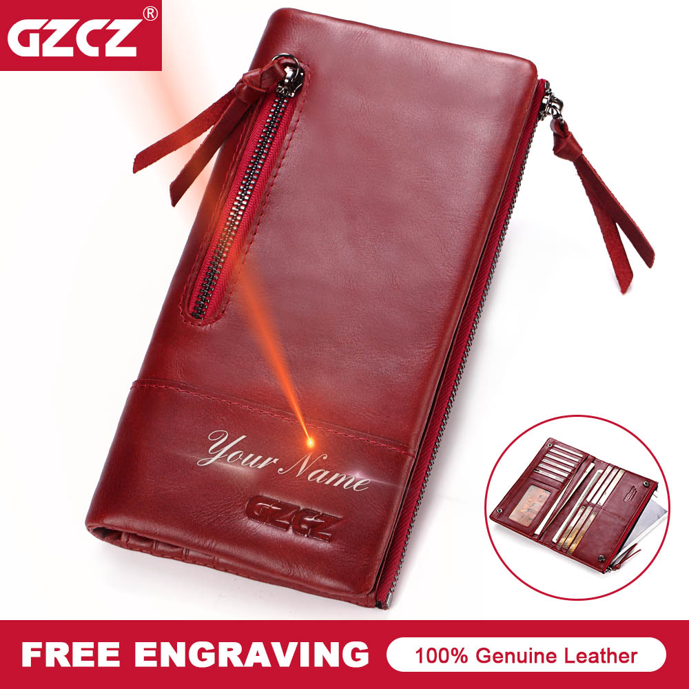 GZCZ Genuine Leather Women Long Wallet Female Zipper Clamp Coin Purse Lady Walet Fashion Cell Phone Pocket Money Bag Portomonee