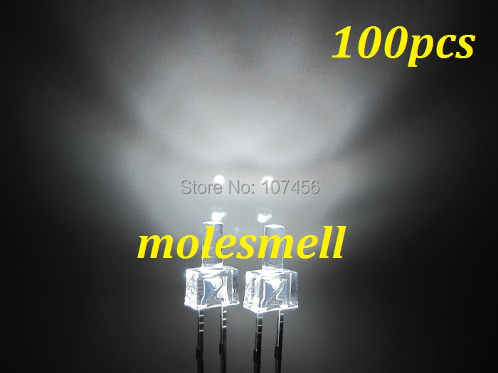 200pcs New 3mm Red Flat Top Water Clear LED Wide Angle Bright leds Long Pins