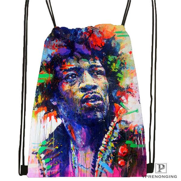 Custom Jimi-Hendrix Drawstring Backpack Bag Cute Daypack Kids Satchel (Black Back) 31x40cm#2018612-01-20
