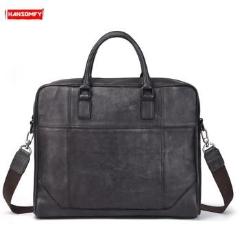 Genuine Leather men handbag briefcase large-capacity computer bag first layer leather crossbody bag retro shoulder messenger bag