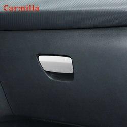 Caja de almacenamiento Interior de acero inoxidable para coche, caja de guantes decorativa, manija de lentejuelas, pegatina para Peugeot 2008 2014-2019