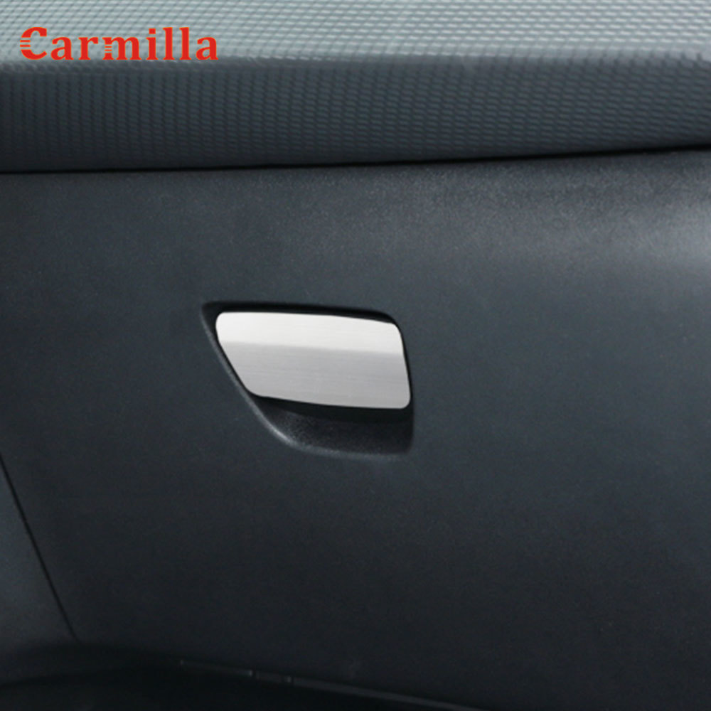 Stainless Steel Interior Car Storage Box Decorative Trim Glove Box Handle Sequins Cover Sticker for Peugeot 2008 2014 - 2019