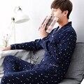 2016 otoño keep warm gruesa coral fleece hombres pijamas de dormir tops y bottoms ropa de dormir de franela térmica ropa de dormir
