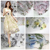 Organza fabric chiffon print dress embroidery embroidery curtain fabric skirt yarn lace fabric