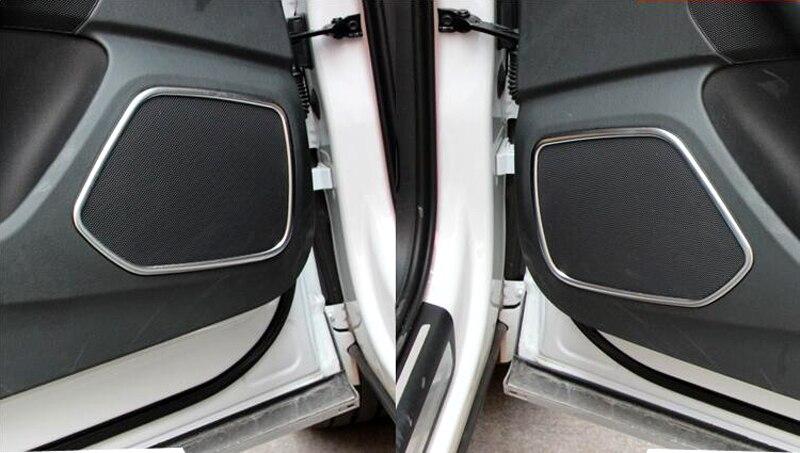 4pcs Auto Door Speaker Audio Ring Cover Trim For Audi Q3 2012-2015 new for audi q3 8u 2012 2015 true carbon inner door armrest stripe lid trim 4pcs
