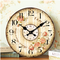 14 Inches 34CM Antique Round Wooden Wall Clock Old Style Flower Paiting Wall Clock for Living Room Quartz Wall Clock