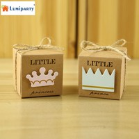 LumiParty 50pcs Baby Shower Candy Box Little Prince Princess Crown Kraft Boxes Girl Boy Birthday Favors