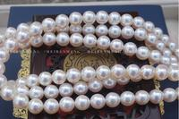 gorgeous AAA 8.5 9mm natural Japanese Akoya white pearl necklace38inch 925silver
