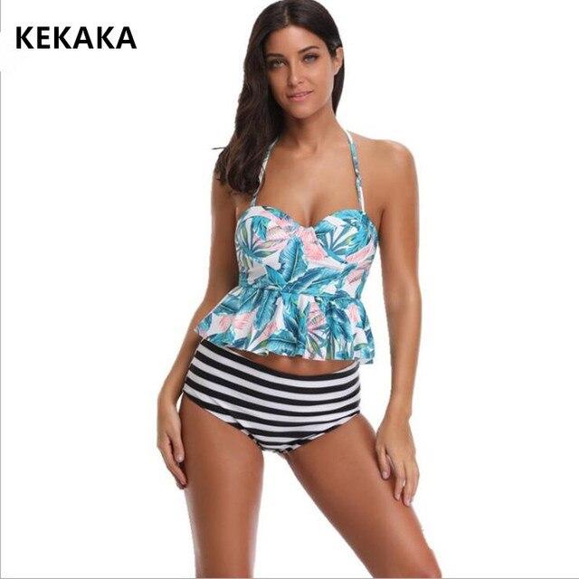 b51a80c386603 KEKAKA 2018 Sexy Reversible Striped Bottom PEPLUM Tankini Swimsuits Women  Plus Size High Waist Bathing Suit Two Pieces Swimwear