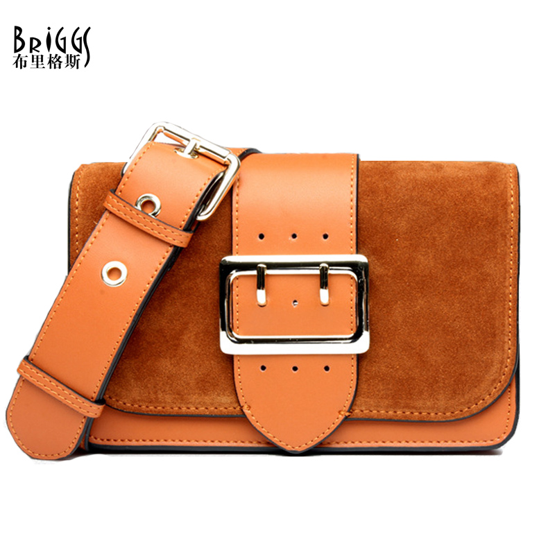 BRIGGS Nubuck Leather Flap Crossbody Bags Wide Strap Famous Designer Handbags Genuine Leather Shoulder Messenger Bags For Women heart shaped crossbody bags for women heart pattern flap women messenger bag brand wide shoulder strap tote handbags chic