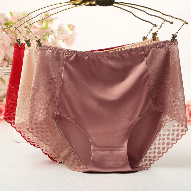 Large Size High Waist   Panties   for Women Underwear Ladies Big Size Briefs Traceless Plus Size Thin Satin Sexy Lace   Panties   Female