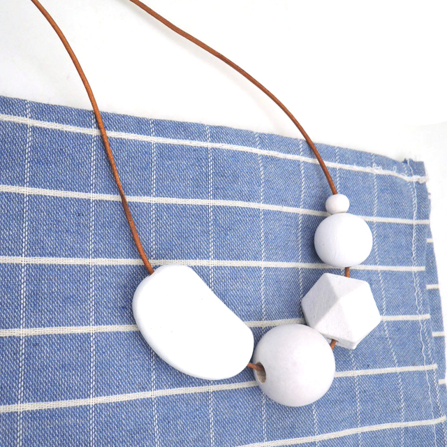 pure WHITE snow wood Geometric necklace with Beaded milimalist statement leather cord everyday NW244
