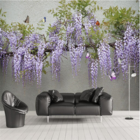 Beibehang Customize Any Size Mural Wallpaper 3D Stereo Wisteria Butterfly TV Sofa Background Wall Murals Papel