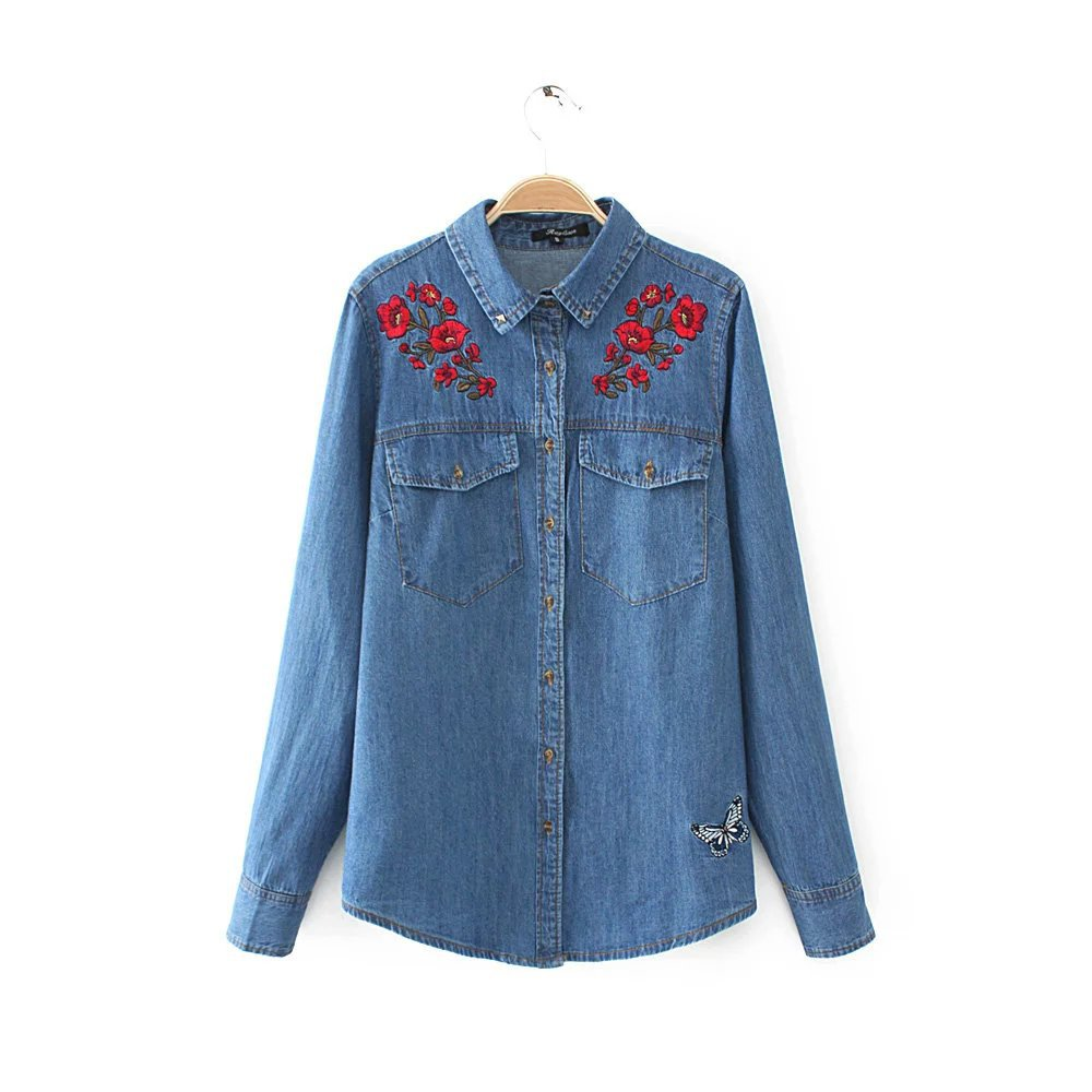Spring Autumn Women's Denim Embroidery Floral Long Sleeve Casual Blouses