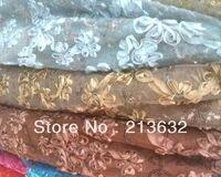 Nouvelle Maison textile grâce élégance fleur dot lumière broderie bleu creux la stéréo flash paillettes safrican suisse voile dentelle tissu