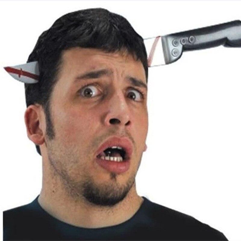 Prank Maker Trick Fun Novelty Funny Joke Toy Fake Dagger Nail Through Head Trick Halloween Kids Children Gags Practical Jokes