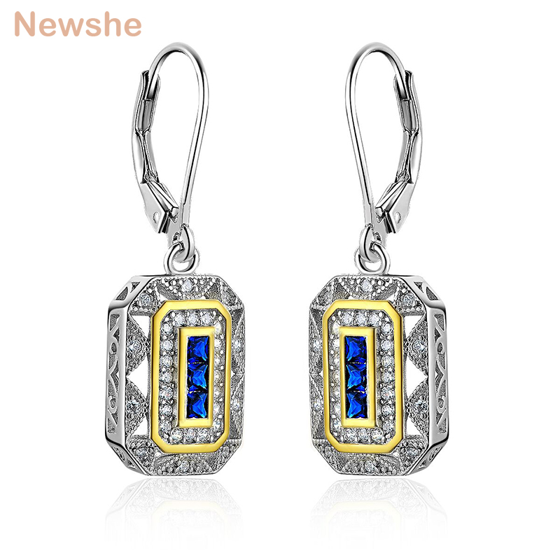 Newshe Solid 925 Sterling Silver Dangle Drop Earrings Blue CZ White & Gold Color Plated Classic Jewelry For Women JE1581