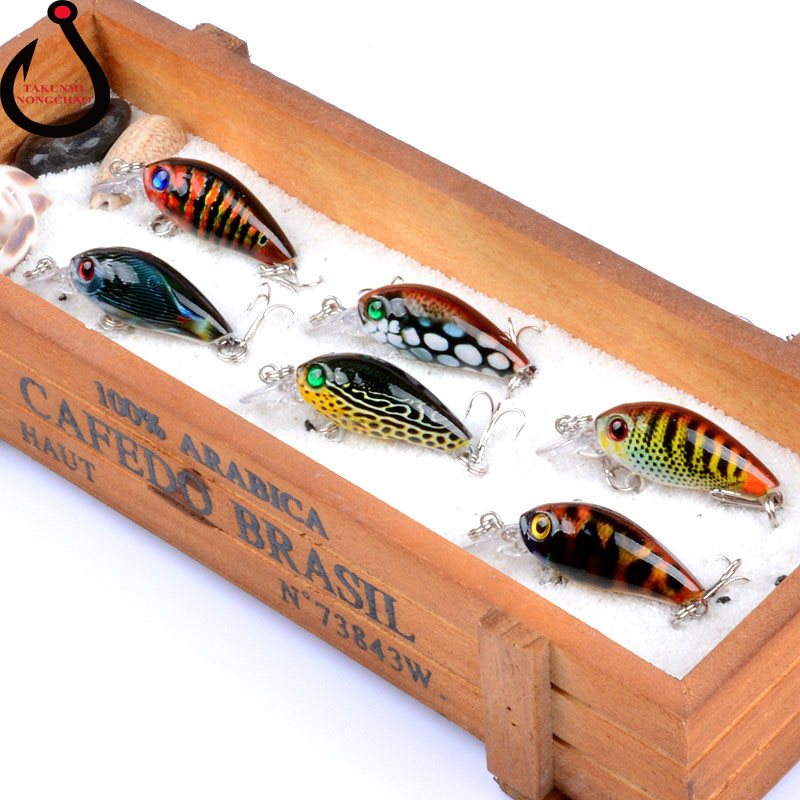 6 color Suit 1PCS Rock Lure Bionic Hard Bait 4.5cm / 4g Coloured Drawing Pattern Fishing Lure LD-31