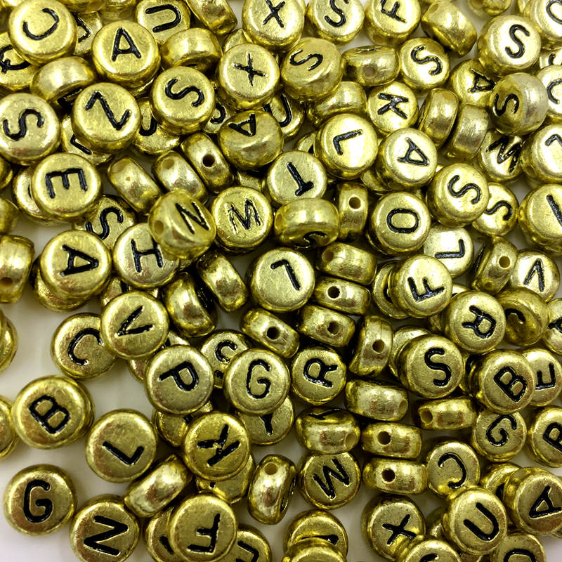 100Pcs Mixed Gold Colors Round Letter Alphabet Acrylic Spacer Beads DIY Jewelry Findings 7x4mm in Beads from Jewelry Accessories