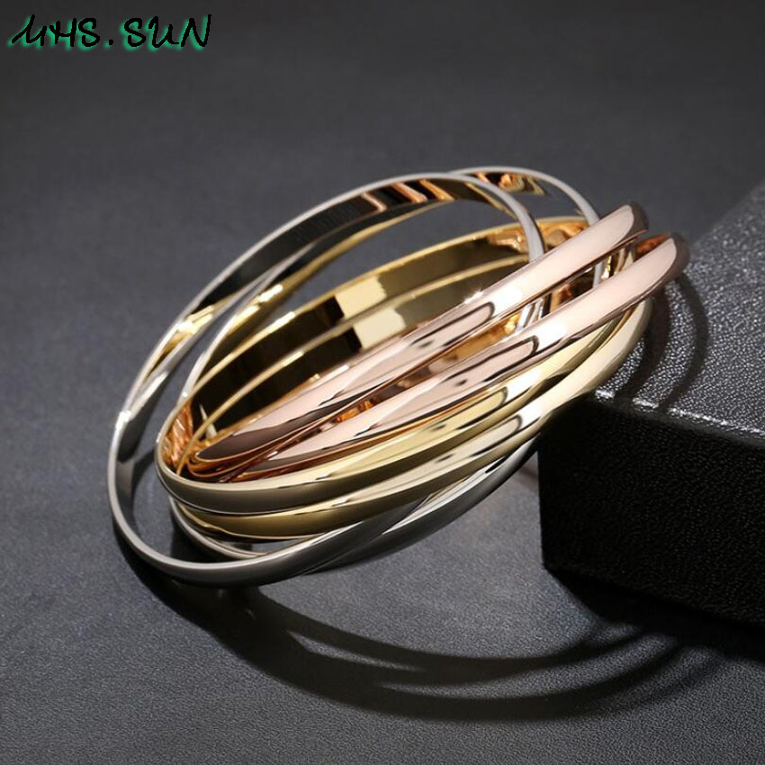 30-4ashion Six-Layers Women Contracted Bangles Bracelets European Style Girls Ladies Bangles All-Match Jewelry Fadeless