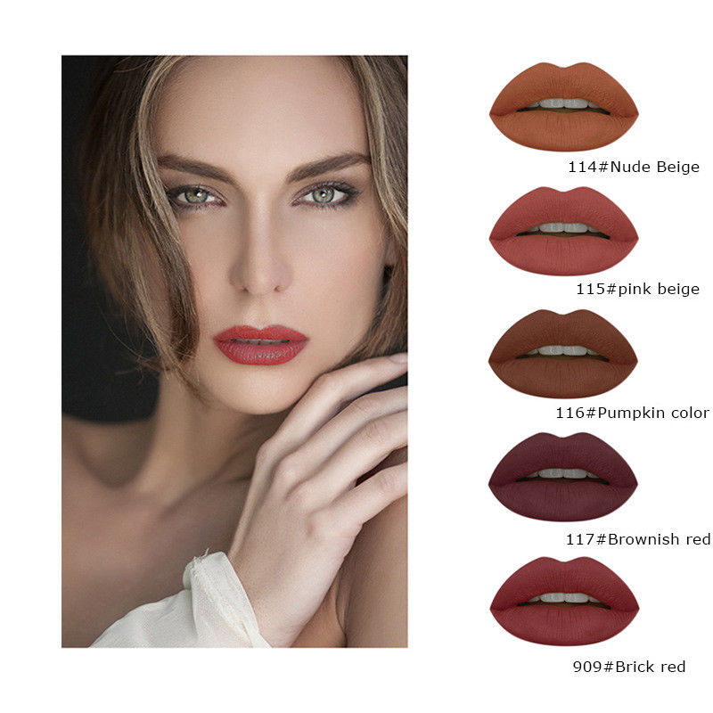 Liquid Lipstick Kit Brown Chocolate Nude Lip Gloss Matte -1216