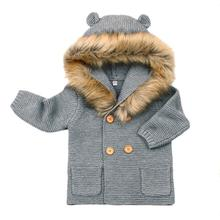 2018 Autumn Winter Warm Baby Fur Hooded Knitted Coat Jacket