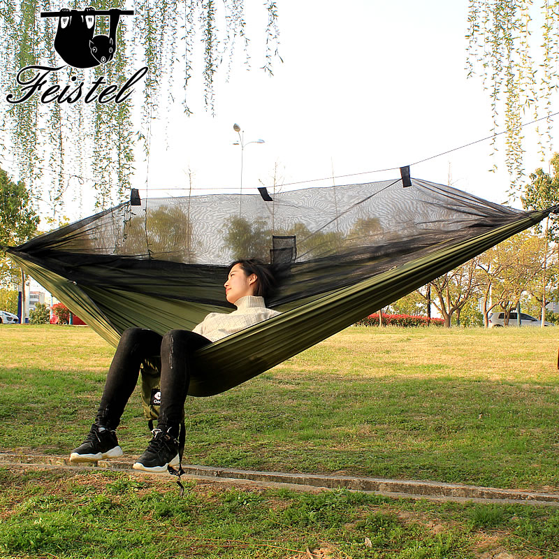 260*140cm 260cm Mosquito Net Hammock Outdoor Furniture Camping Hunting Mosquito Net Parachute Hammock 2 Person Flyknit Hamaca