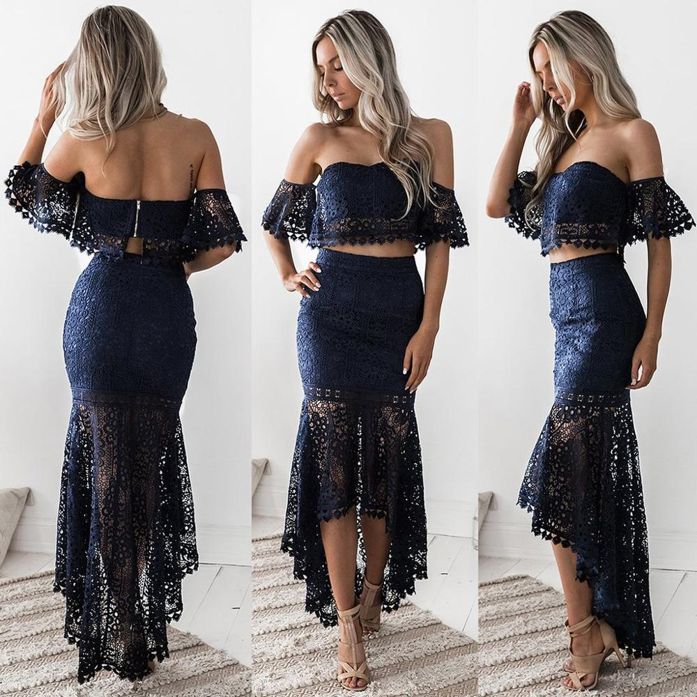Navy Blue Sweetheart A Line Homecoming Dresses Two Pieces Sexy Graduation Dress Gown Lace High Low Real Dress