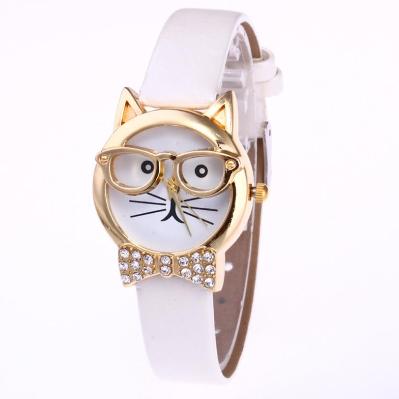 Ladies Watches Quartz Feminino Analog Casual Women Cartoon Lovely Cat Glasses Dial Retro-Style