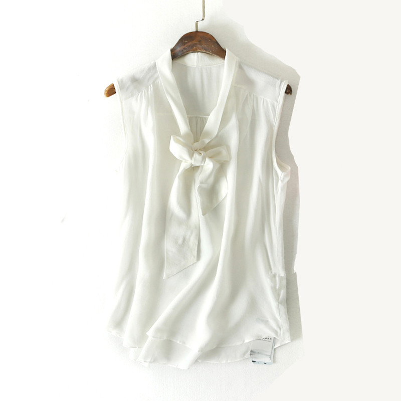 Woman Summer Natural Silk Blouse Sleeveless V neck Office Wear Real Silk Blouses White/Black casual Silk Shirt Blouse for Women blouse