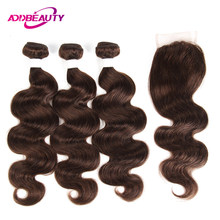 Human Hair Bundles With Closure 4 Light Medium Brown Pre-colored 4x4 Swiss Lace Brazilian Body Wave Remy Weave Free Middle Part(China)