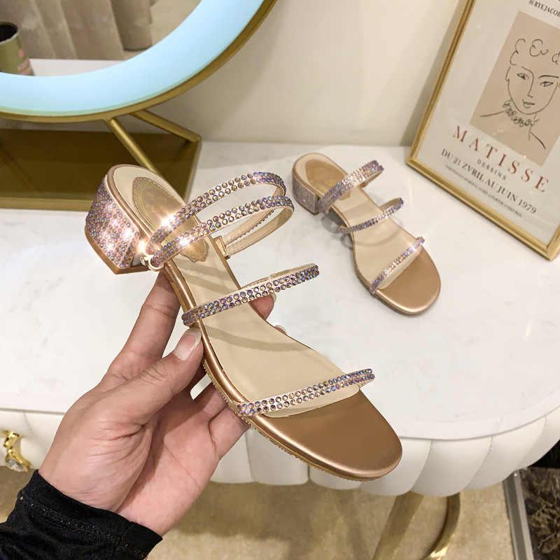 Nữ Mùa Hè Giữa Dép Dép Nữ Thoáng Khí Kim Cương Giả Giày Sandal Đế Giày Bên Ngoài Bạn Gái Thoải Mái Chất Lượng Cao