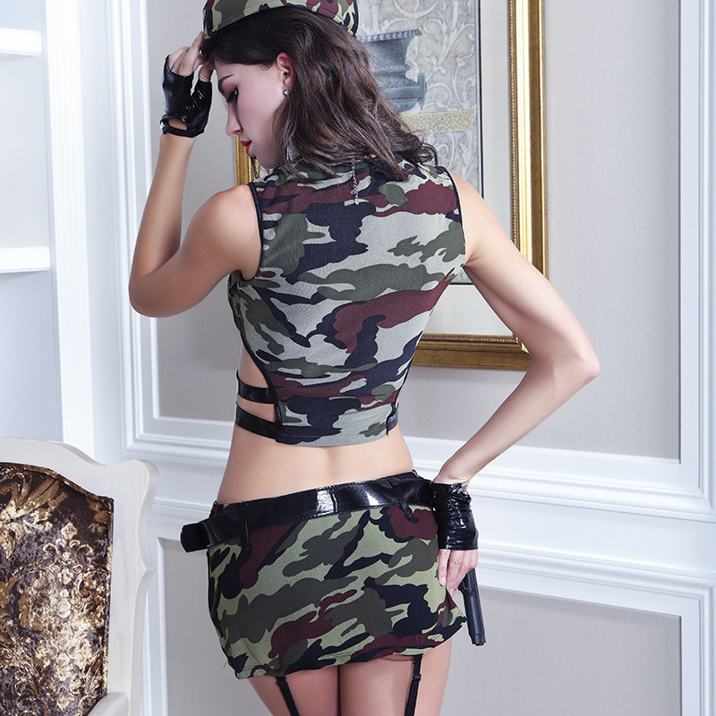 <font><b>Sexy</b></font> Role Play Military Tops and Skirt Camouflage Masquerade Fancy Outfits Halloween Women <font><b>Army</b></font> Costume Uniform Soldier <font><b>Cosplay</b></font> image