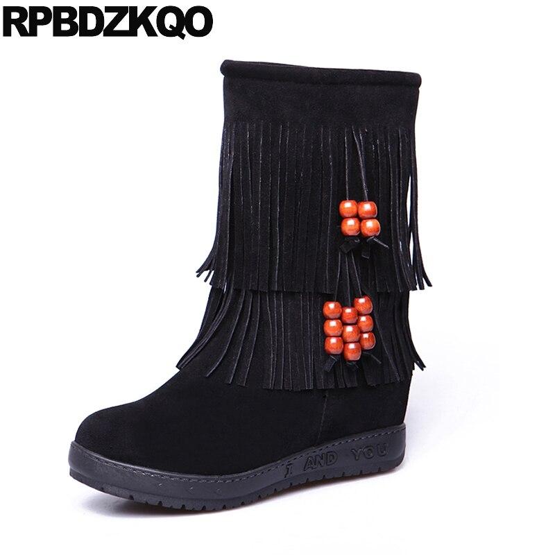 Noir étrange femmes bottes hiver 2017 chaussures 9 plat mi-mollet sans lacet frange fourrure nouvelle mode chinoise dames femme
